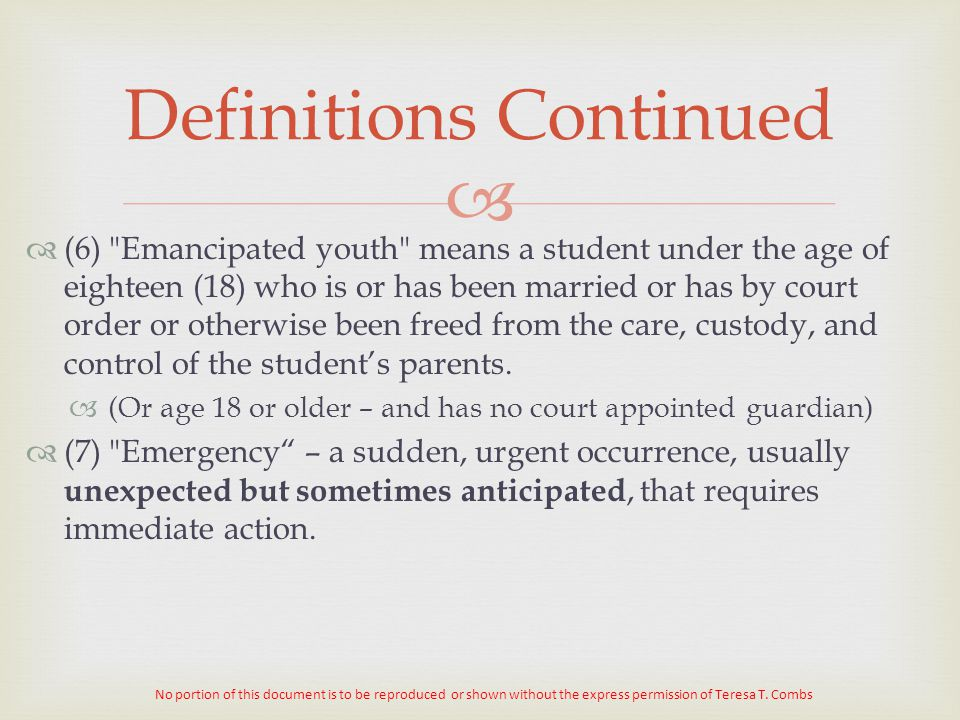   (6) Emancipated youth means a student under the age of eighteen (18) who is or has been married or has by court order or otherwise been freed from the care, custody, and control of the student's parents.
