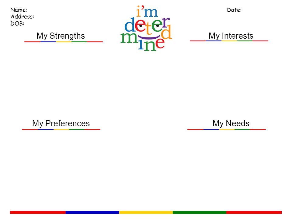 My Needs My Interests Name: Address: DOB: Date: My Strengths My Preferences