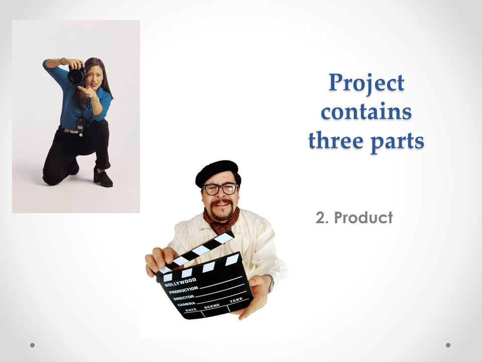 Project contains three parts 2. Product