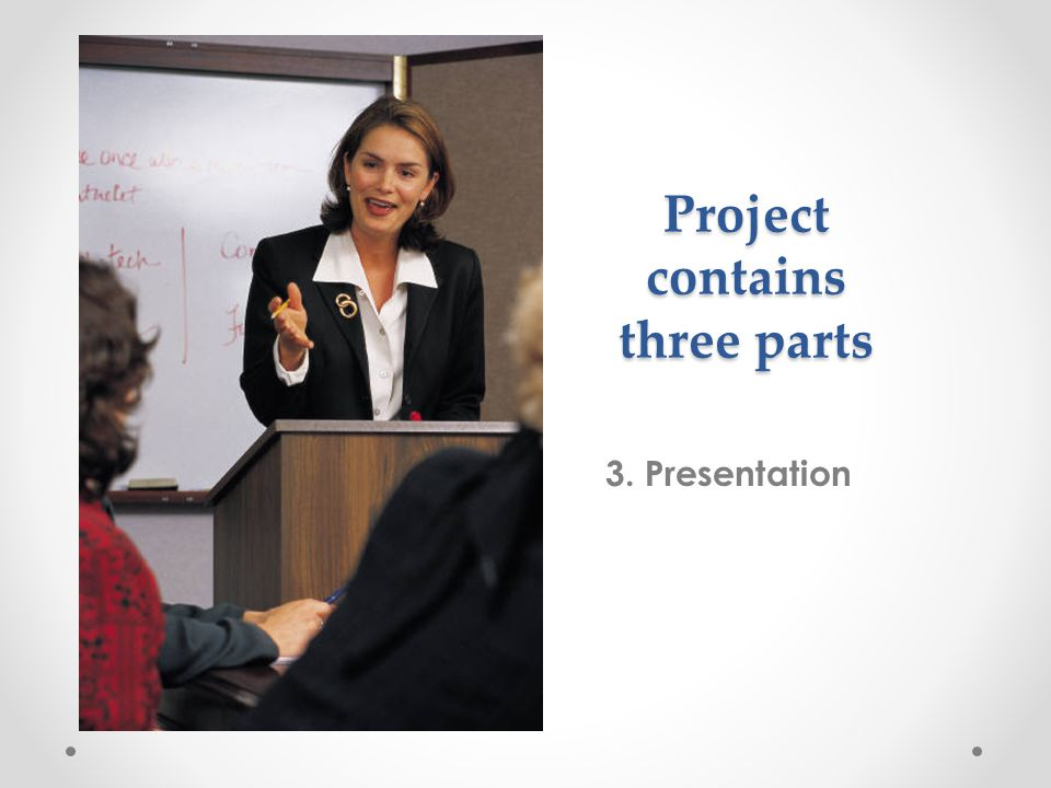 Project contains three parts 3. Presentation