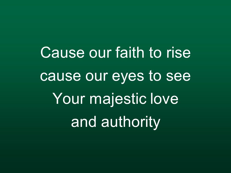Cause our faith to rise cause our eyes to see Your majestic love and authority