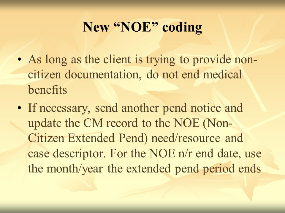 New NOE coding As long as the client is trying to provide non- citizen documentation, do not end medical benefits If necessary, send another pend notice and update the CM record to the NOE (Non- Citizen Extended Pend) need/resource and case descriptor.