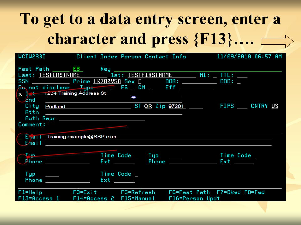 To get to a data entry screen, enter a character and press {F13}….