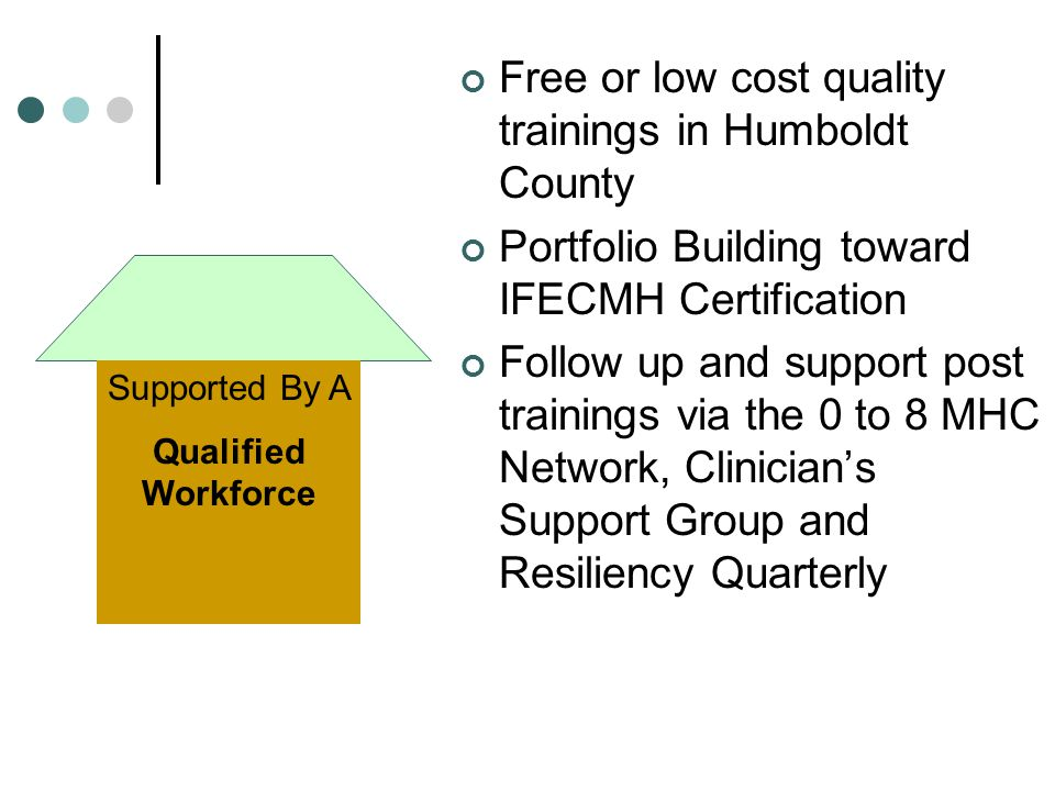 Free or low cost quality trainings in Humboldt County Portfolio Building toward IFECMH Certification Follow up and support post trainings via the 0 to 8 MHC Network, Clinician's Support Group and Resiliency Quarterly Supported By A Qualified Workforce