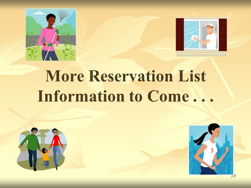 33 More Reservation List Information to Come...