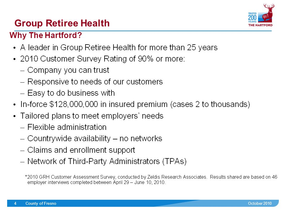 October 2010County of Fresno4 Group Retiree Health Why The Hartford