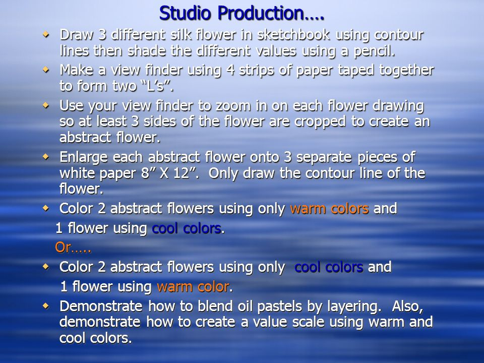 Studio Production….  Draw 3 different silk flower in sketchbook using contour lines then shade the different values using a pencil.  Make a view fin