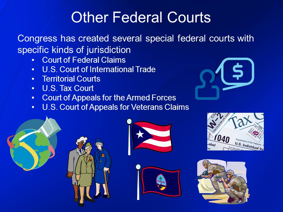 Congress has created several special federal courts with specific kinds of jurisdiction Court of Federal Claims U.S. Court of International Trade Terr