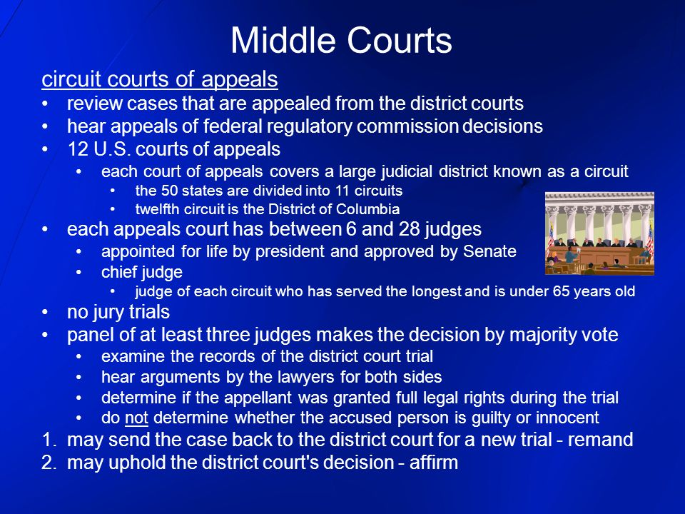 Middle Courts circuit courts of appeals review cases that are appealed from the district courts hear appeals of federal regulatory commission decision