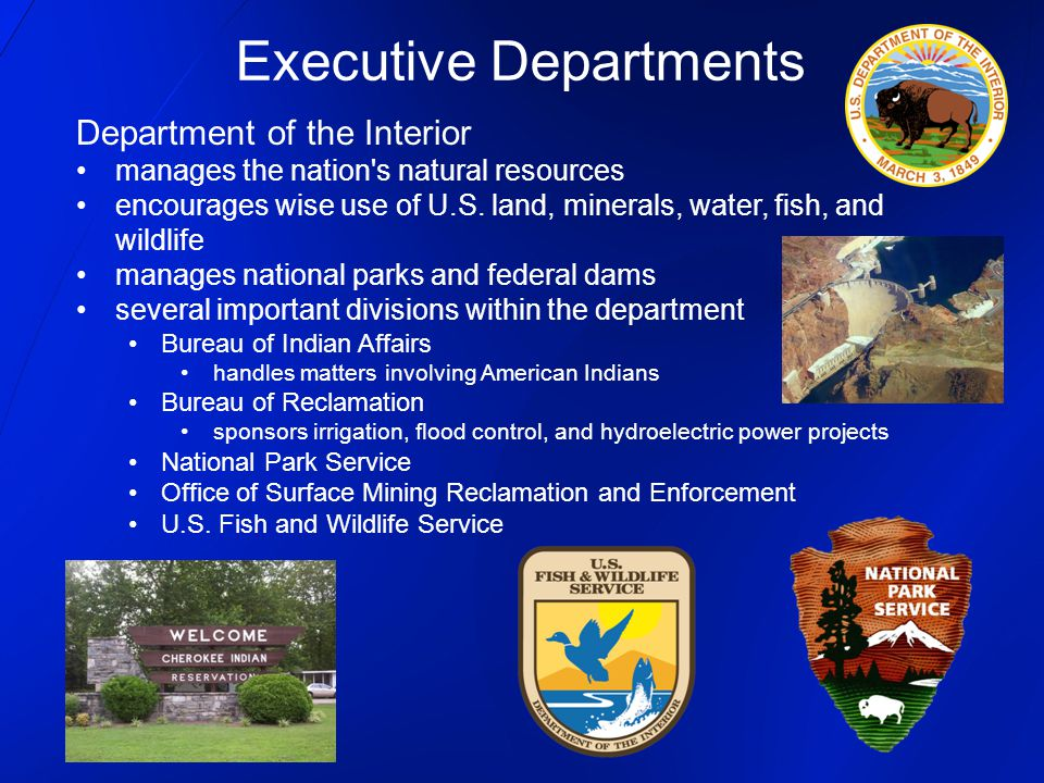 Department of the Interior manages the nation's natural resources encourages wise use of U.S. land, minerals, water, fish, and wildlife manages nation