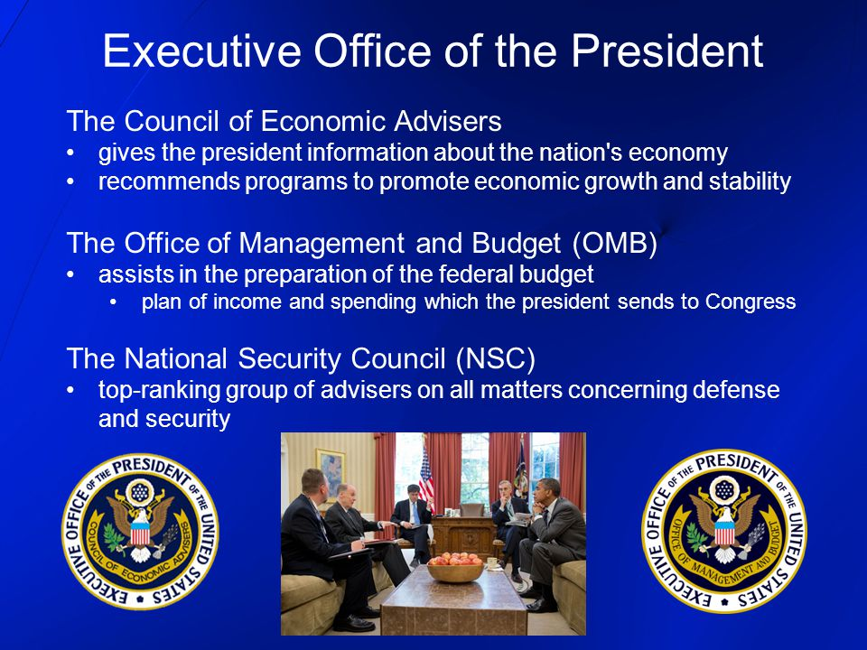 The Council of Economic Advisers gives the president information about the nation's economy recommends programs to promote economic growth and stabili