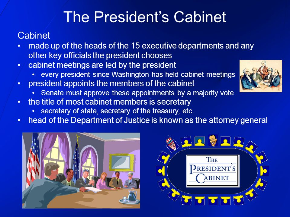 The President's Cabinet Cabinet made up of the heads of the 15 executive departments and any other key officials the president chooses cabinet meeting