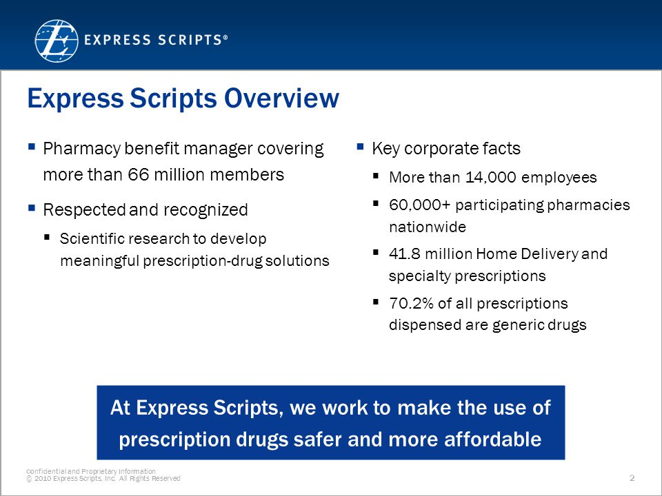 Confidential and Proprietary Information © 2010 Express Scripts, Inc.