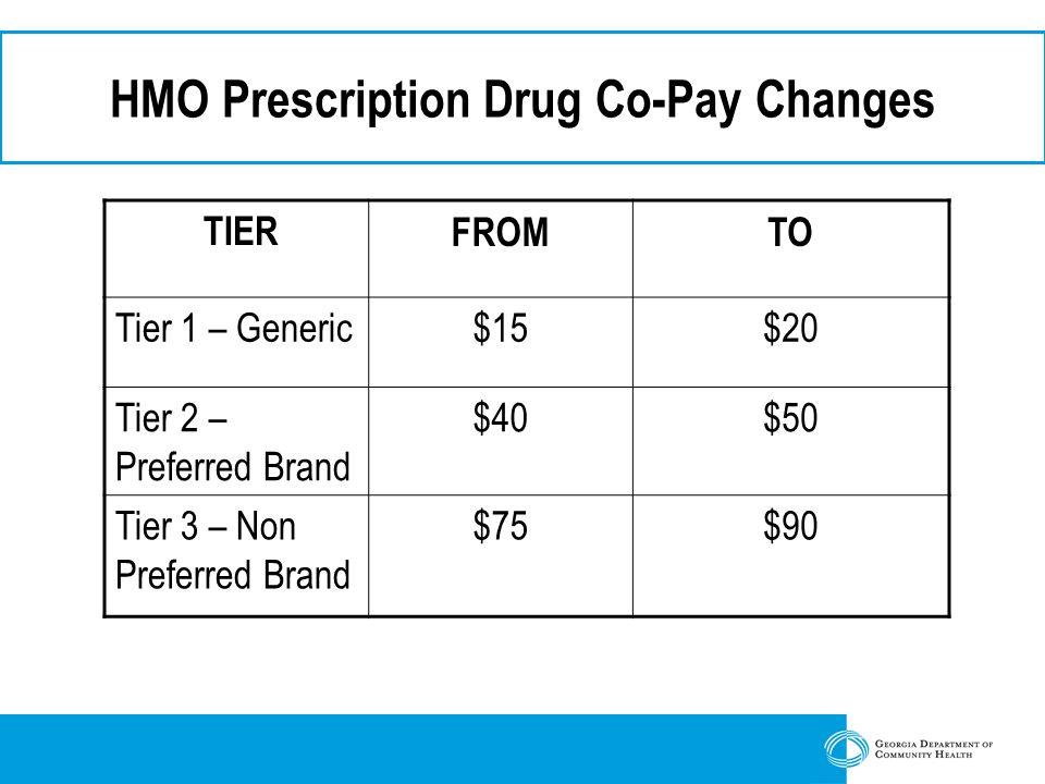 HMO Prescription Drug Co-Pay Changes TIERFROMTO Tier 1 – Generic$15$20 Tier 2 – Preferred Brand $40$50 Tier 3 – Non Preferred Brand $75$90