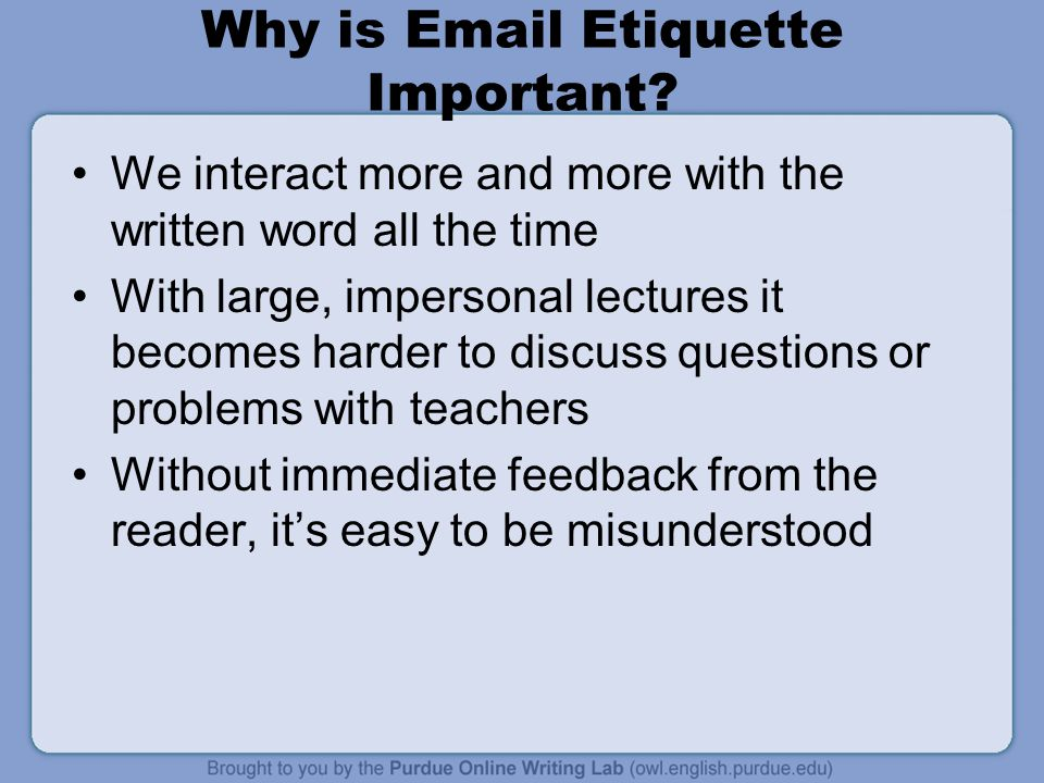 Why is Email Etiquette Important.