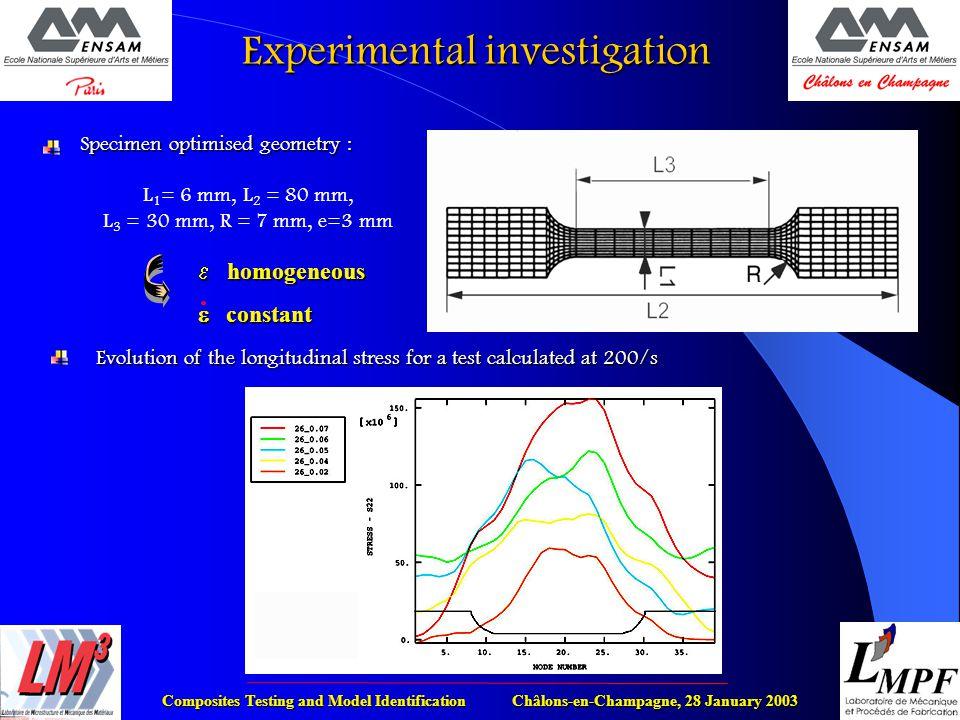 Composites Testing and Model Identification Châlons-en-Champagne, 28 January 2003 Experimental investigation Specimen optimised geometry : L 1 = 6 mm,
