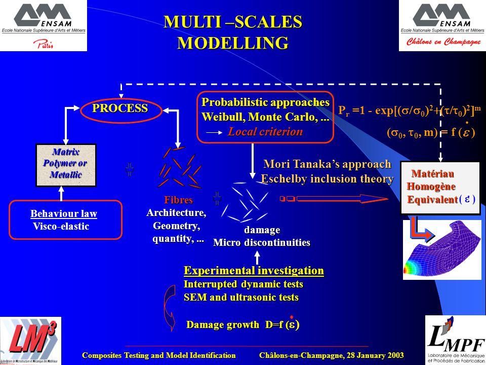 Composites Testing and Model Identification Châlons-en-Champagne, 28 January 2003 MULTI –SCALES MODELLING MatériauHomogèneEquivalent (  ). Matrix Pol