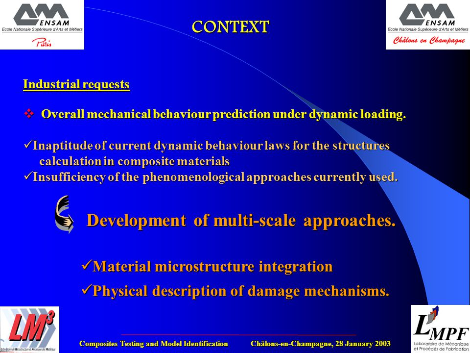 Composites Testing and Model Identification Châlons-en-Champagne, 28 January 2003 Industrial requests  Overall mechanical behaviour prediction under