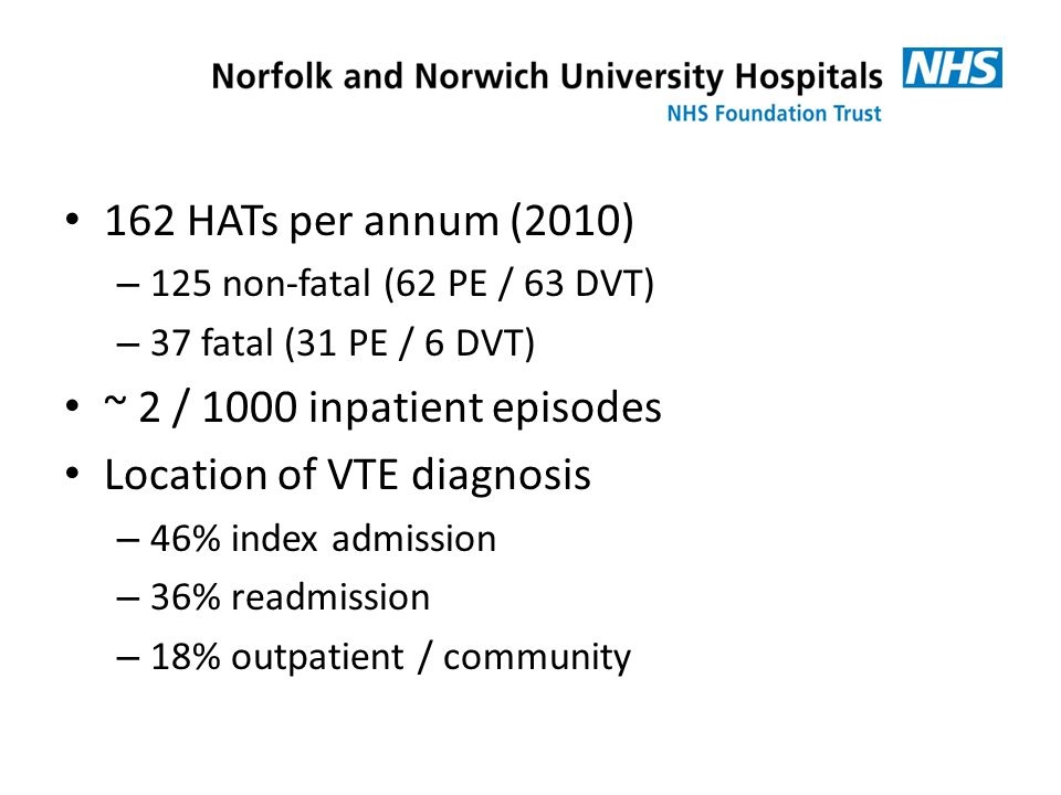 162 HATs per annum (2010) – 125 non-fatal (62 PE / 63 DVT) – 37 fatal (31 PE / 6 DVT) ~ 2 / 1000 inpatient episodes Location of VTE diagnosis – 46% index admission – 36% readmission – 18% outpatient / community