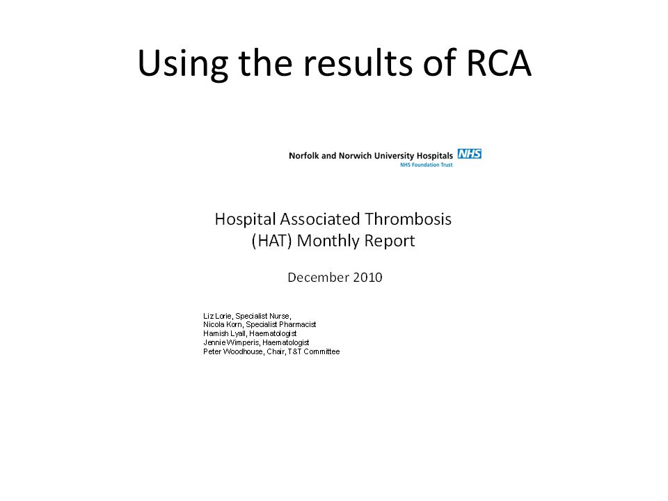 Using the results of RCA