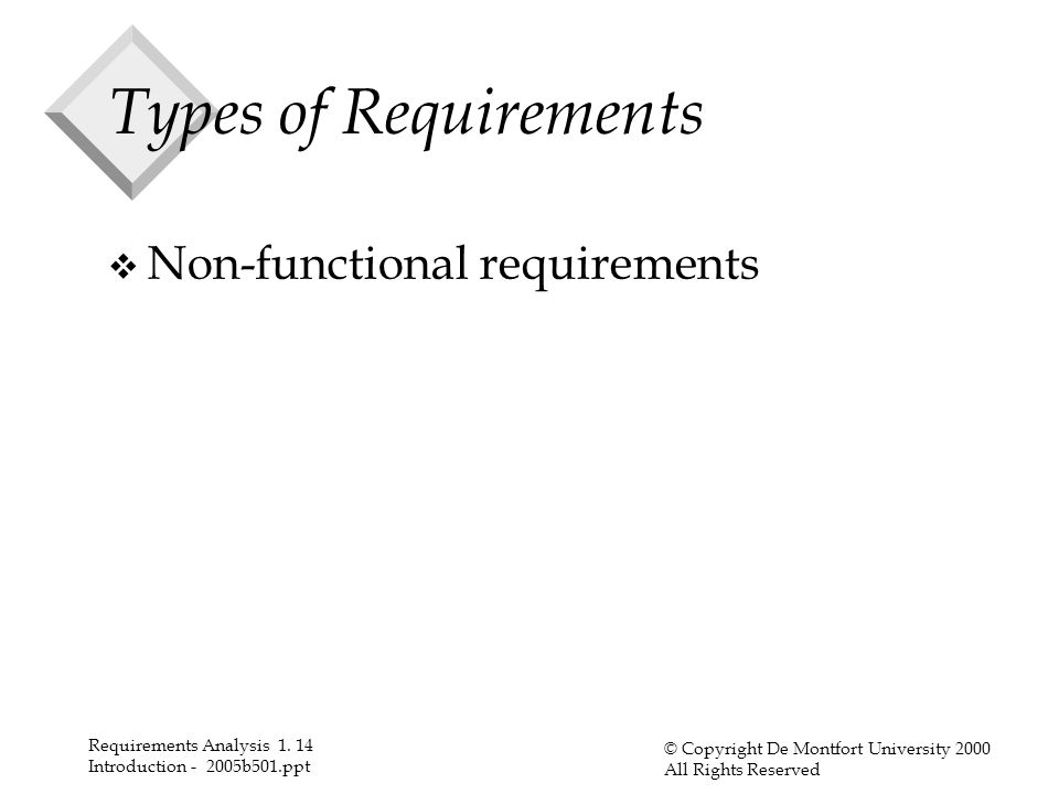 Requirements Analysis 1. 14 Introduction - 2005b501.ppt © Copyright De Montfort University 2000 All Rights Reserved Types of Requirements v Non-functi