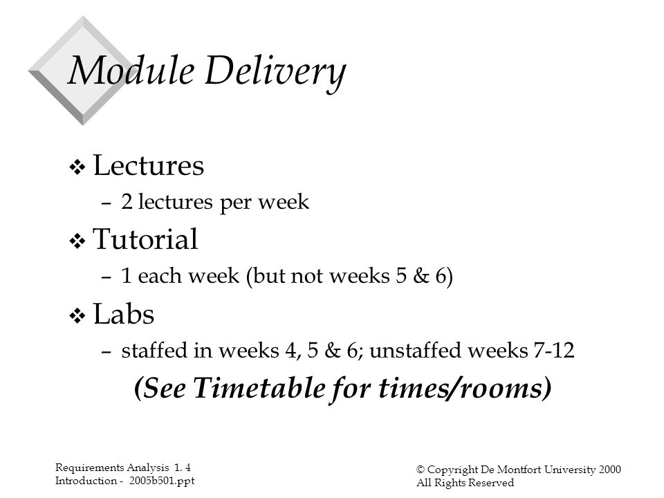Requirements Analysis 1. 4 Introduction - 2005b501.ppt © Copyright De Montfort University 2000 All Rights Reserved Module Delivery v Lectures –2 lectu