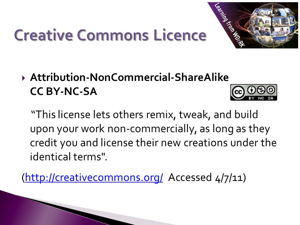  Attribution-NonCommercial-ShareAlike CC BY-NC-SA This license lets others remix, tweak, and build upon your work non-commercially, as long as they credit you and license their new creations under the identical terms .