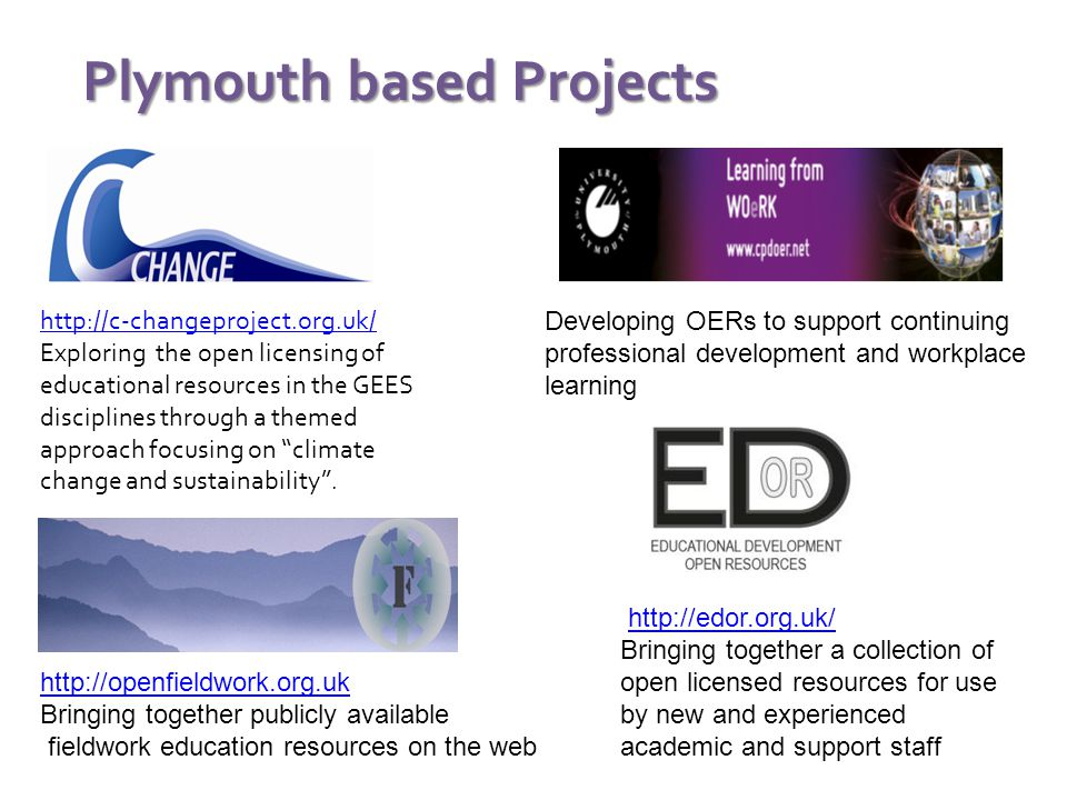 Project completed OERs available through: www.jorum.ac.uk Search on GEESOER 243 items at 3/7/11 Project completing Drawing together existing OERS through the Open Fieldwork Aggregator Fieldwork Aggregator See workshop this afternoon
