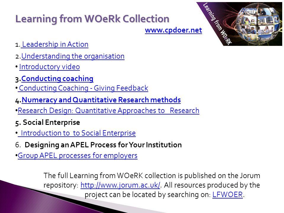 Learning from WOeRk Collection www.cpdoer.net 1.