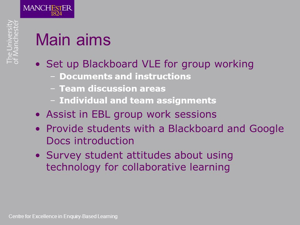 Centre for Excellence in Enquiry-Based Learning Main aims Set up Blackboard VLE for group working –Documents and instructions –Team discussion areas –Individual and team assignments Assist in EBL group work sessions Provide students with a Blackboard and Google Docs introduction Survey student attitudes about using technology for collaborative learning