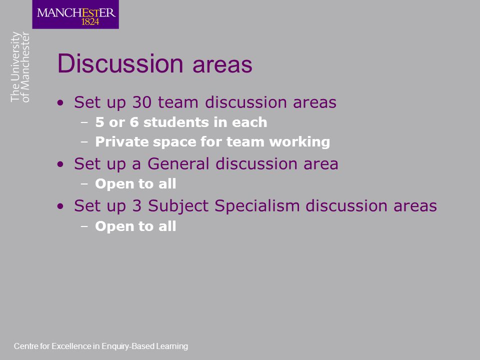 Discussion areas Set up 30 team discussion areas –5 or 6 students in each –Private space for team working Set up a General discussion area –Open to all Set up 3 Subject Specialism discussion areas –Open to all