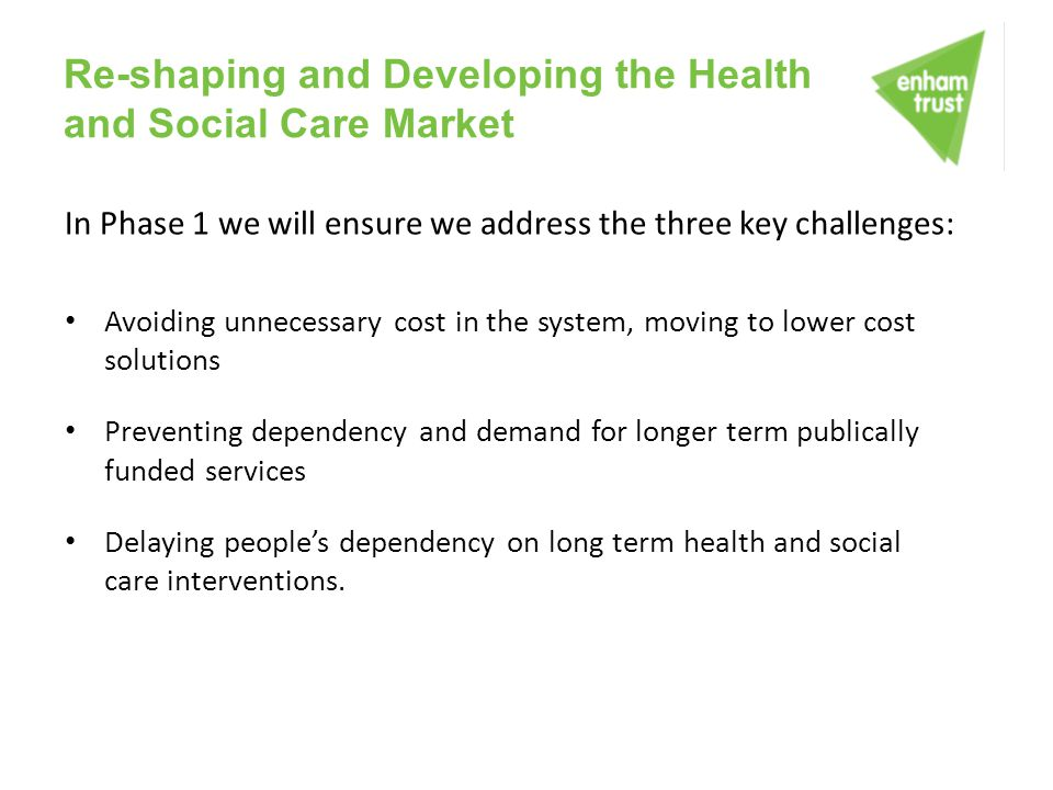Re-shaping and Developing the Health and Social Care Market In Phase 1 we will ensure we address the three key challenges: Avoiding unnecessary cost i