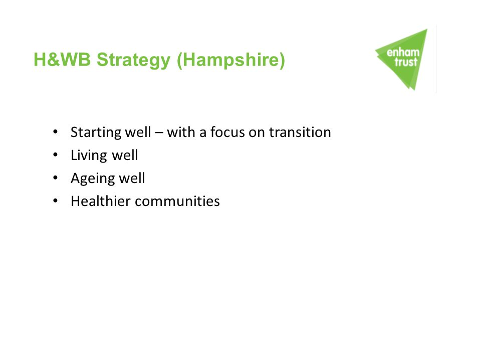 H&WB Strategy (Hampshire) Starting well – with a focus on transition Living well Ageing well Healthier communities