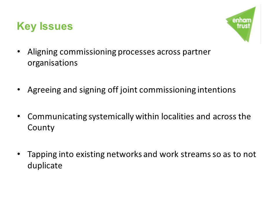 Key Issues Aligning commissioning processes across partner organisations Agreeing and signing off joint commissioning intentions Communicating systemi