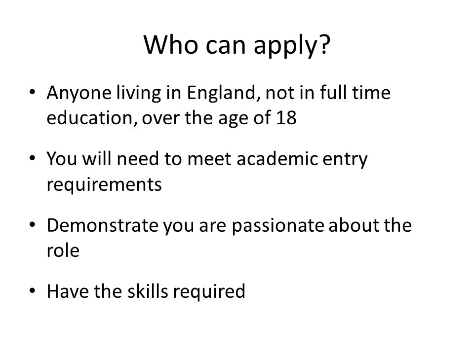 Who can apply.