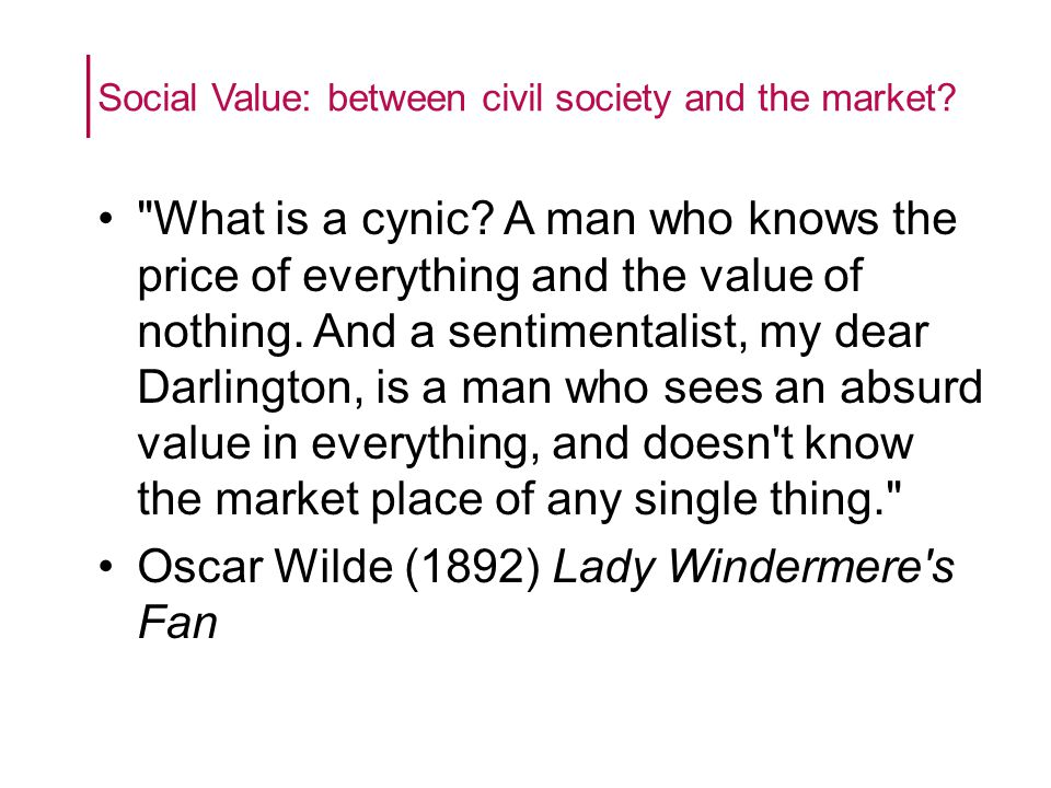Social Value: between civil society and the market.