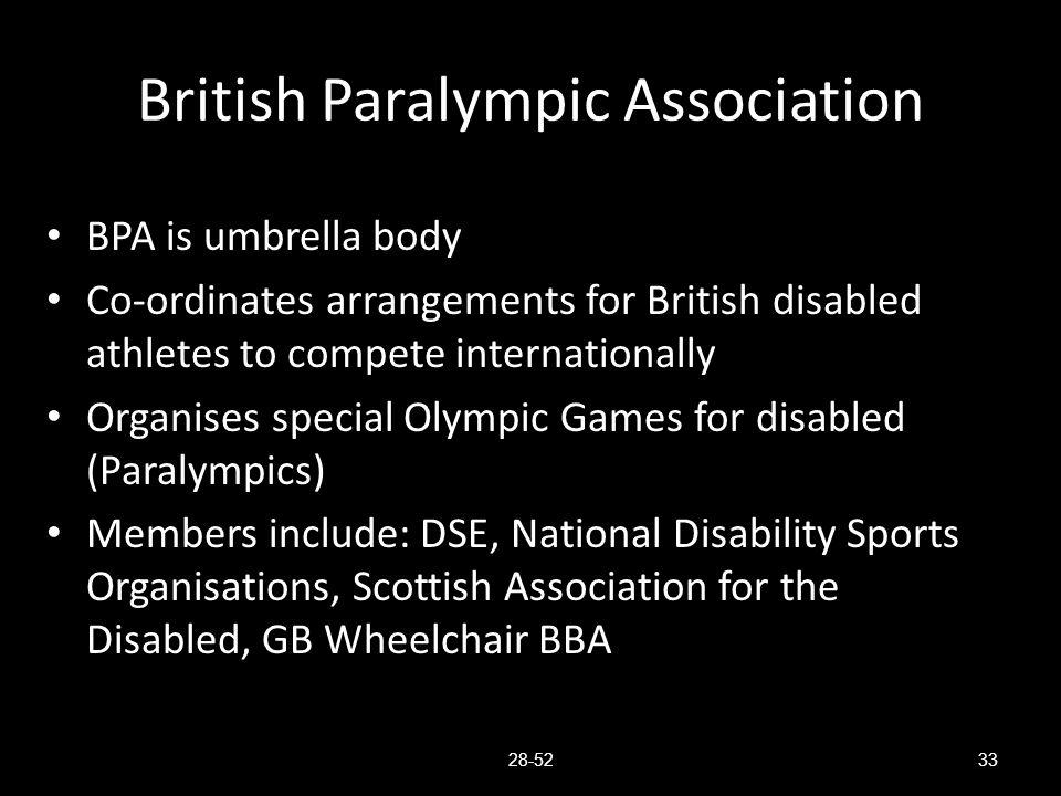 British Paralympic Association BPA is umbrella body Co-ordinates arrangements for British disabled athletes to compete internationally Organises speci