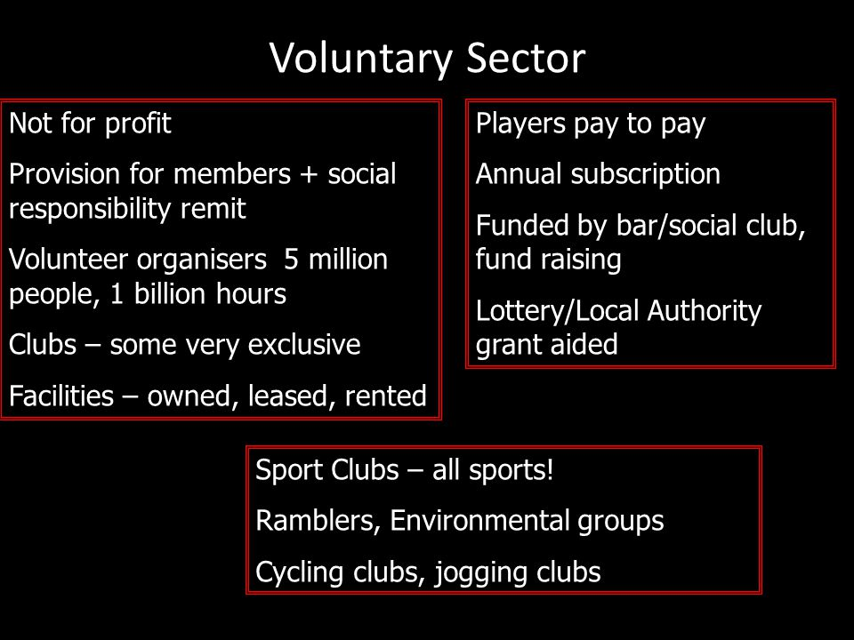 Voluntary Sector Not for profit Provision for members + social responsibility remit Volunteer organisers 5 million people, 1 billion hours Clubs – som