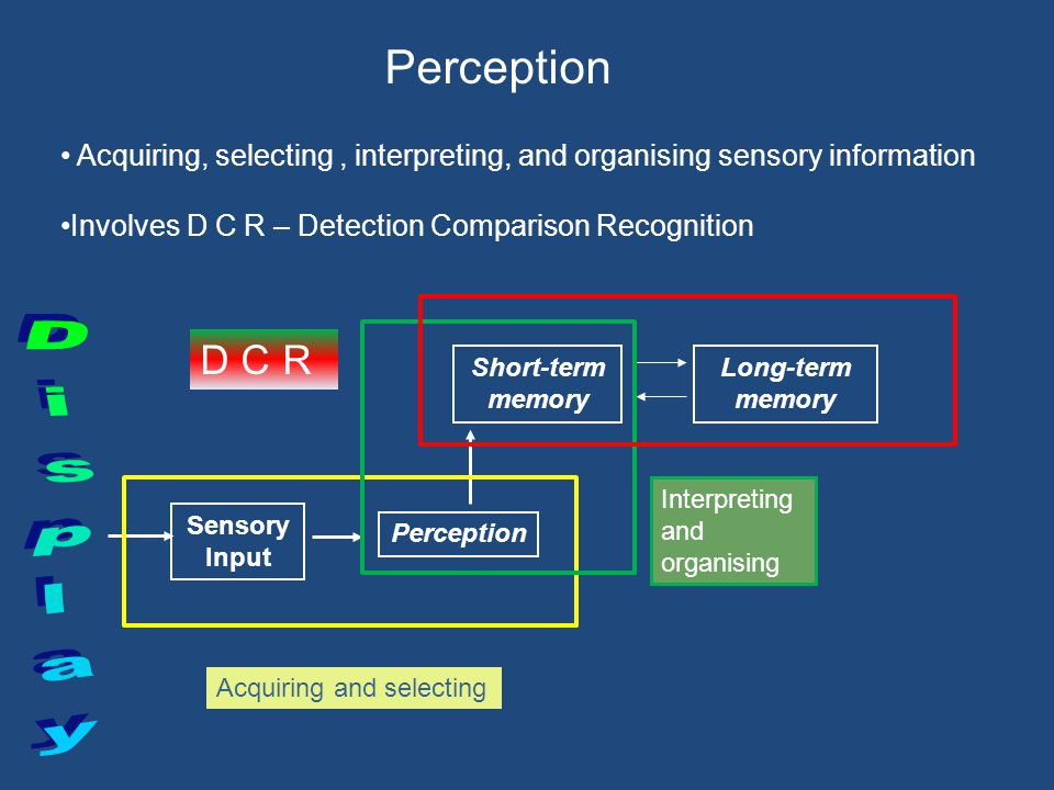 Short-term memory Long-term memory Movem ent/ executi ve Feedback Decision making Perception Sensory Input Selective Attention DCR STSS Jan04Q5badrall