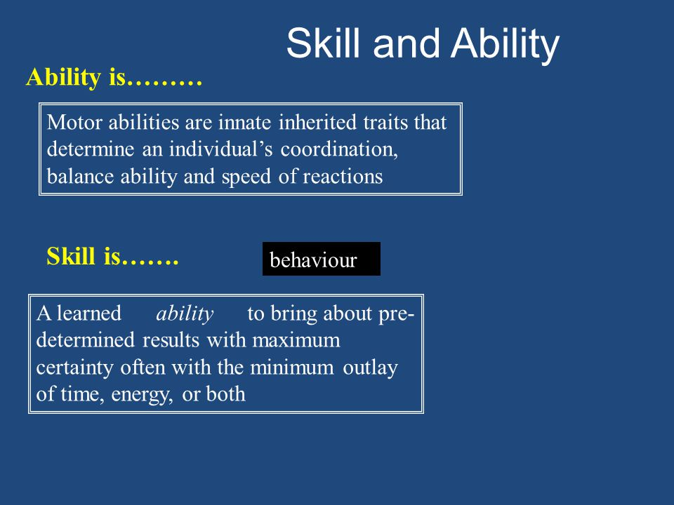 Characteristics of Skill Learned Aesthetic Economic Efficient, effortless Goal directed Fluent, smooth Coordinated Predetermined