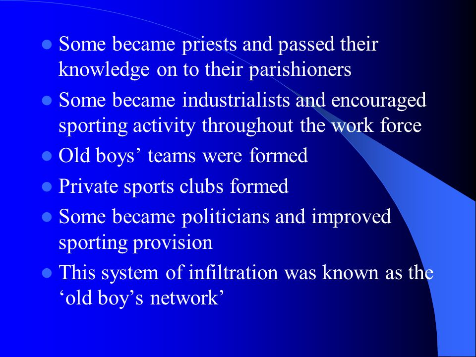 National Organisations These were formed in the mid to late nineteen century as a result of the influence of public schools in portraying sport as morally worthwhile and as a result of the new urban/industrialised society demanding organised leisure time.