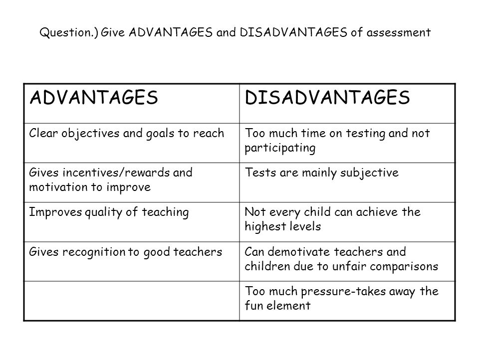 Question.) Give ADVANTAGES and DISADVANTAGES of assessment ADVANTAGESDISADVANTAGES Clear objectives and goals to reachToo much time on testing and not participating Gives incentives/rewards and motivation to improve Tests are mainly subjective Improves quality of teachingNot every child can achieve the highest levels Gives recognition to good teachersCan demotivate teachers and children due to unfair comparisons Too much pressure-takes away the fun element