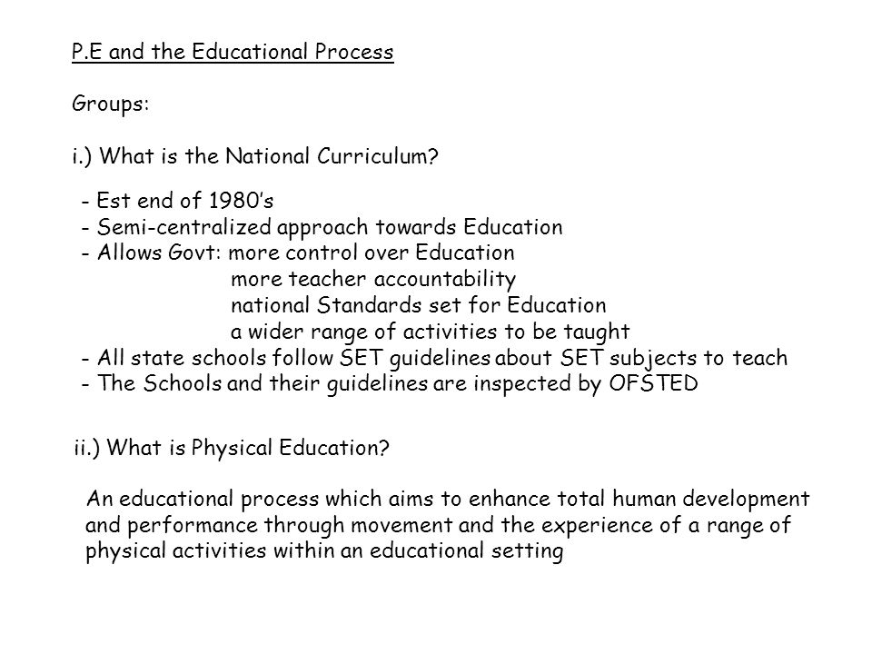 iii.) What are the key aims of Physical Education.