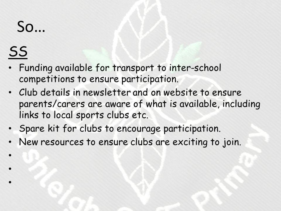 So… SS Funding available for transport to inter-school competitions to ensure participation.
