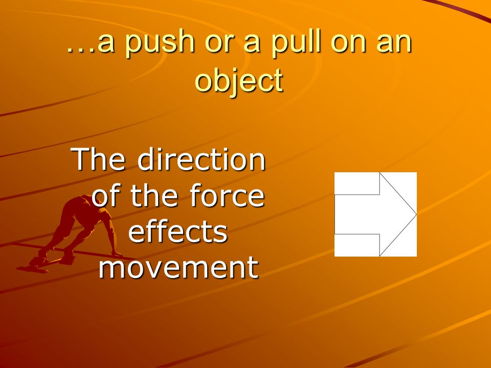 …a push or a pull on an object The direction of the force effects movement