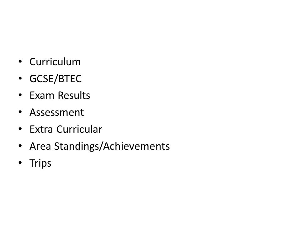 Curriculum GCSE/BTEC Exam Results Assessment Extra Curricular Area Standings/Achievements Trips