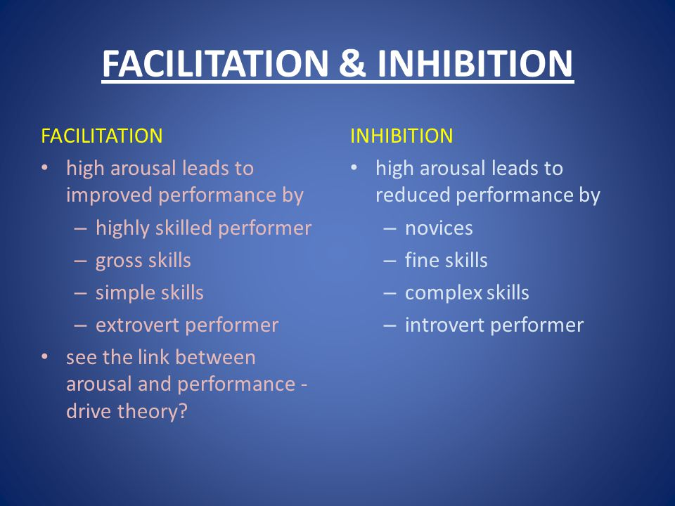 FACILITATION & INHIBITION FACILITATION high arousal leads to improved performance by – highly skilled performer – gross skills – simple skills – extrovert performer see the link between arousal and performance - drive theory.
