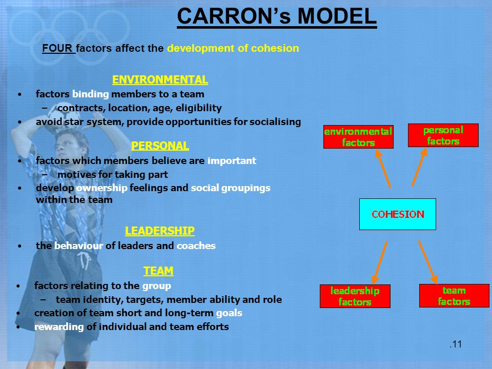 CARRON's MODEL.11 FOUR factors affect the development of cohesion ENVIRONMENTAL factors binding members to a team –contracts, location, age, eligibili
