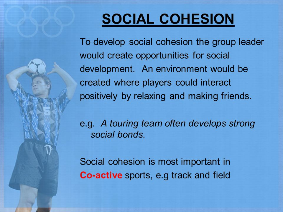 SOCIAL COHESION To develop social cohesion the group leader would create opportunities for social development. An environment would be created where p