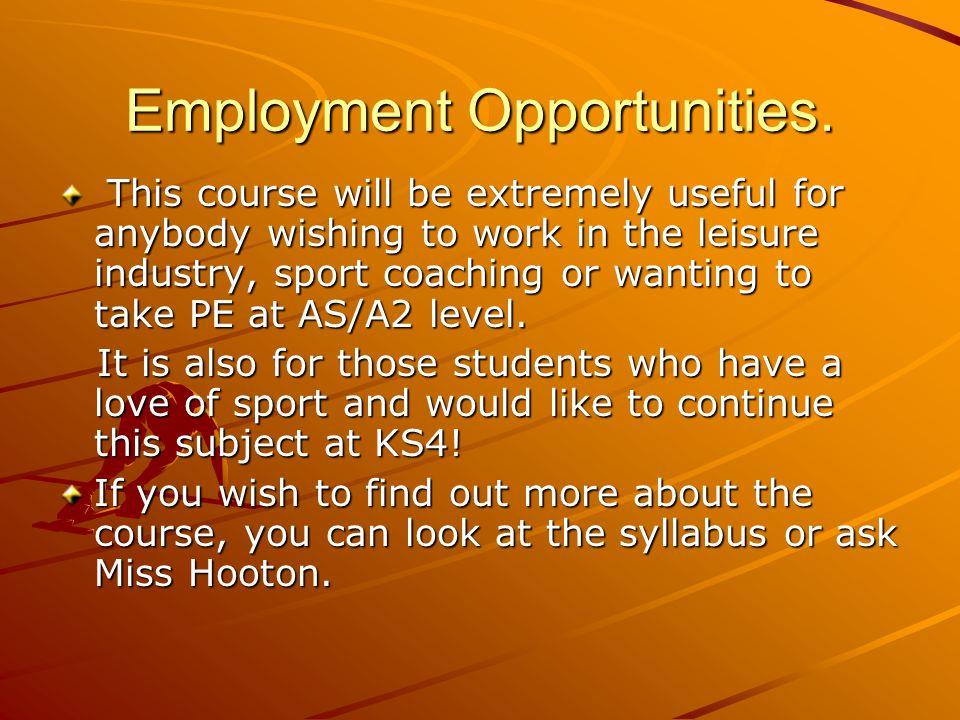 Employment Opportunities.